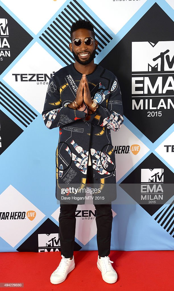 Tinie Tempah poses wearing sunglasses for a portrait before the MTV EMA's at the Mediolanum Forum on October 25, 2015 in Milan, Italy.