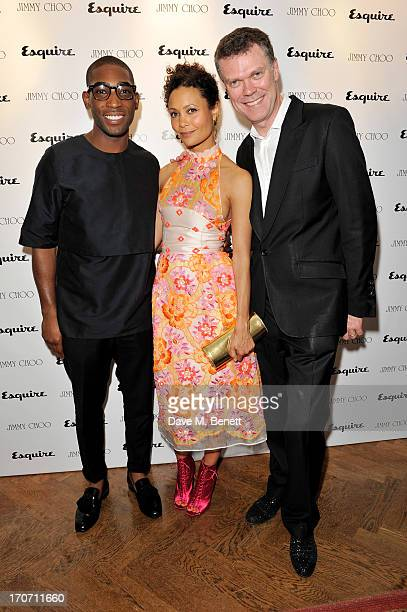 Tinie Tempah Thandie Newton and Pierre Denis CEO of Jimmy Choo attends the Jimmy Choo Esquire London CollectionsMen opening night party at Loulou's 5...