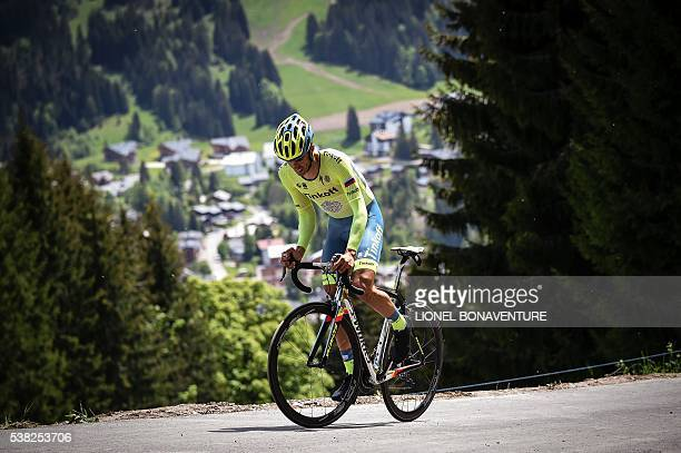 Tinkoff's Spanish cyclist Alberto Contador rides during the first stage of the 68th edition of the Dauphine Criterium cycling race on June 05 2016 in...