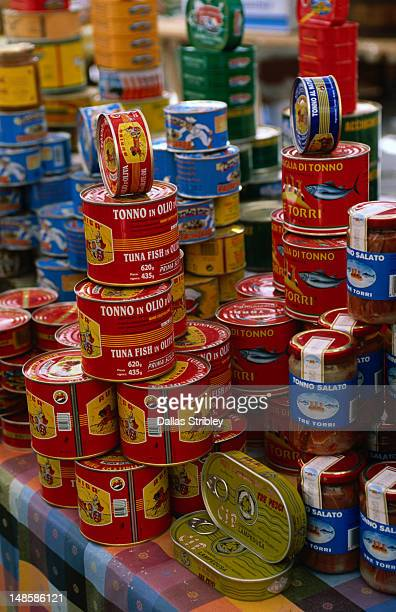 Tinned Tuna products stacked in a display in the Trapani market.
