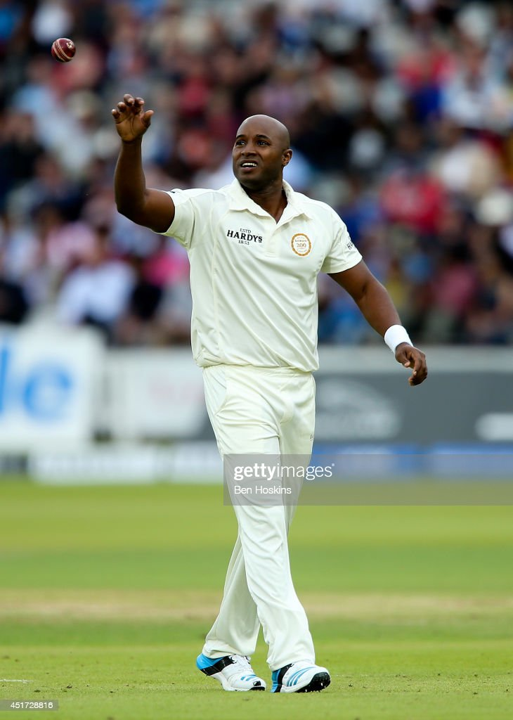 <a gi-track='captionPersonalityLinkClicked' href=/galleries/search?phrase=Tino+Best&family=editorial&specificpeople=209064 ng-click='$event.stopPropagation()'>Tino Best</a> of Rest of the World in action during the MCC and Rest of the World match at Lord's Cricket Ground on July 5, 2014 in London, England.