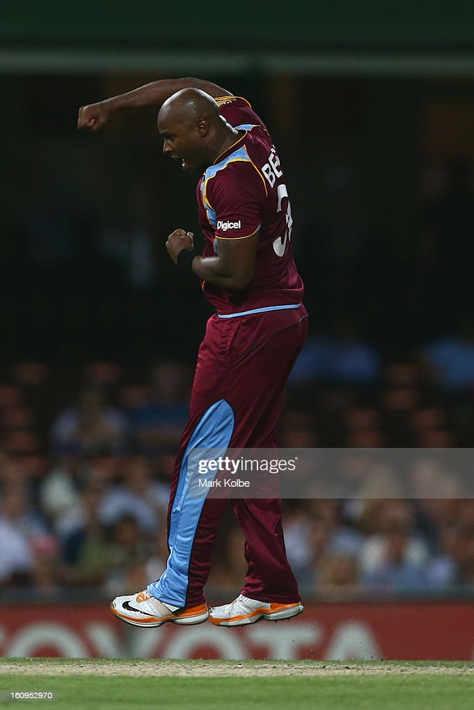 Tino Best of the West Indies celebrates taking the wicket of Michael Clarke of Australia during game four of the Commonwealth Bank One Day International Series between Australia and the West Indies at Sydney Cricket Ground on February 8, 2013 in Sydney, Australia.