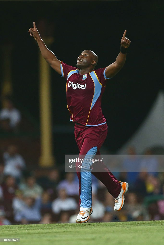 Tino Best of the West Indies celebrates taking the wicket of Shane Watson of Australia during game four of the Commonwealth Bank One Day International Series between Australia and the West Indies at Sydney Cricket Ground on February 8, 2013 in Sydney, Australia.