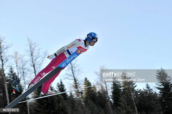 Tino Edelmann of Germany takes 1st place during the FIS Nordic Combined World Cup Team Sprint on January 12 2014 in ChauxNeuve France