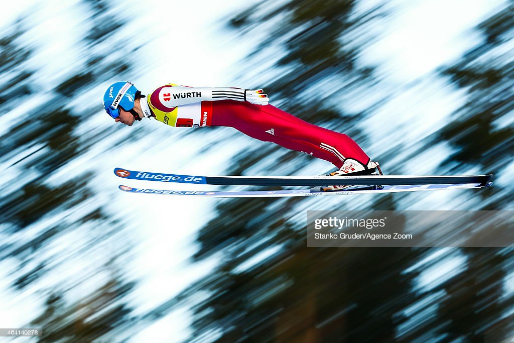 Tino Edelmann of Germany takes 1st place during the FIS Nordic World Ski Championships Men's Nordic Combined Team HS100/4x5k on February 22 2015 in...
