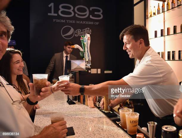 Tino Martinez bartends at the official launch of 1893 Club at Yankee Stadium on June 20 2017 in New York City
