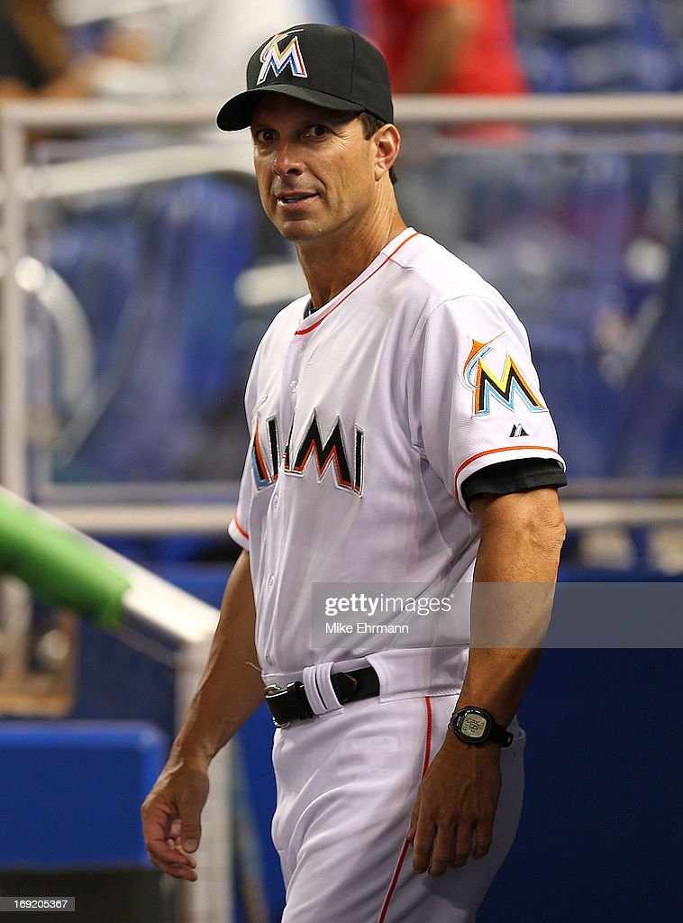 Tino Martinez #10 of the Miami Marlins looks on during a game against the Philadelphia Phillies at Marlins Park on May 21, 2013 in Miami, Florida.