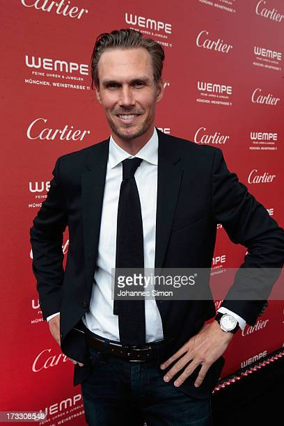 Tino Schuster arrives for the 'League of Gentlemen' launch of the Calibre de Cartier chronograph at Heart Club on July 11 2013 in Munich Germany