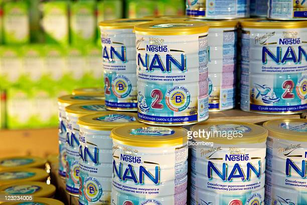 Tins of newlymanufactured 'NAN' baby food sit on display at Nestle's production unit for probiotic infant formulas in Konolfingen Switzerland on...