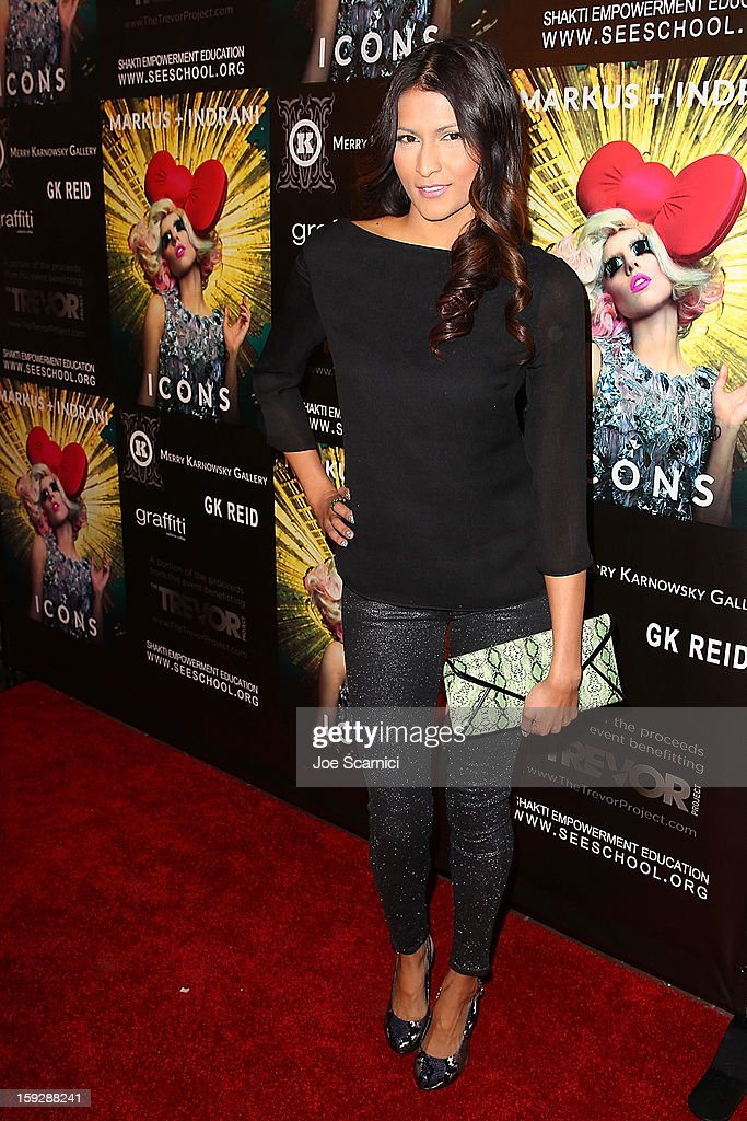 Tinsel Korey arrives at Markus + Indrani Icons book launch party hosted by Carmen Electra benefiting The Trevor Project at Merry Karnowsky Gallery & Graffiti on January 10, 2013 in Los Angeles, California.