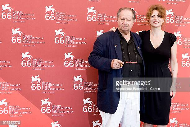 Tinto Brass and Caterina Varzi attend the photocall of the short film 'Hotel Courbet' during the 66th Venice Film Festival