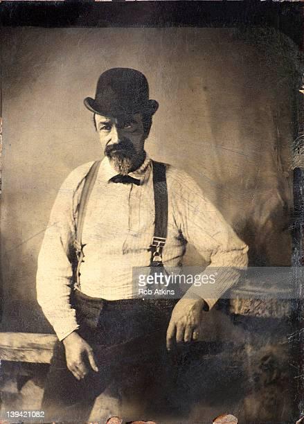 Tintype photograph of man circa 1915