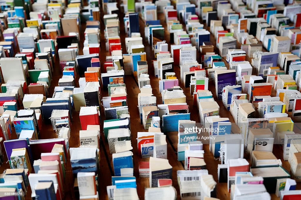Tiny books in the book shop at the Hay Festival, on May 29, 2016 in Hay-on-Wye, Wales. The Hay Festival is an annual festival of literature and arts now in its 29th year.
