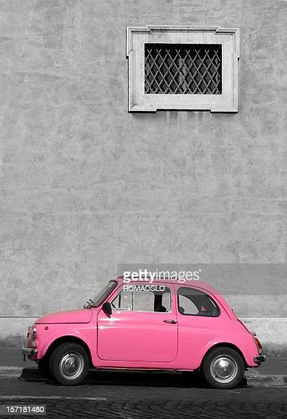 Tiny pink vintage car, Rome Italy
