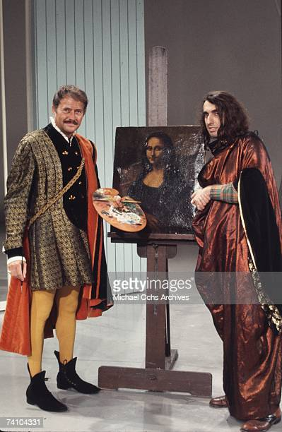 Tiny Tim performs a sketch with Dan Rowan on Rowan Martin's 'LaughIn' in January 1969 in Los Angeles California The show aired February 24 1969