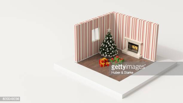 tiny world, room with christmas tree