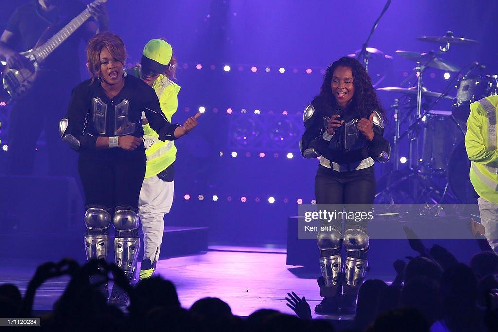 Tionne 'T-Boz' Watkins (L) and Rozonda 'Chilli' Thomas of TLC perfom onstage during the MTV VMAJ 2013 at Makuhari Messe on June 22, 2013 in Chiba, Japan.