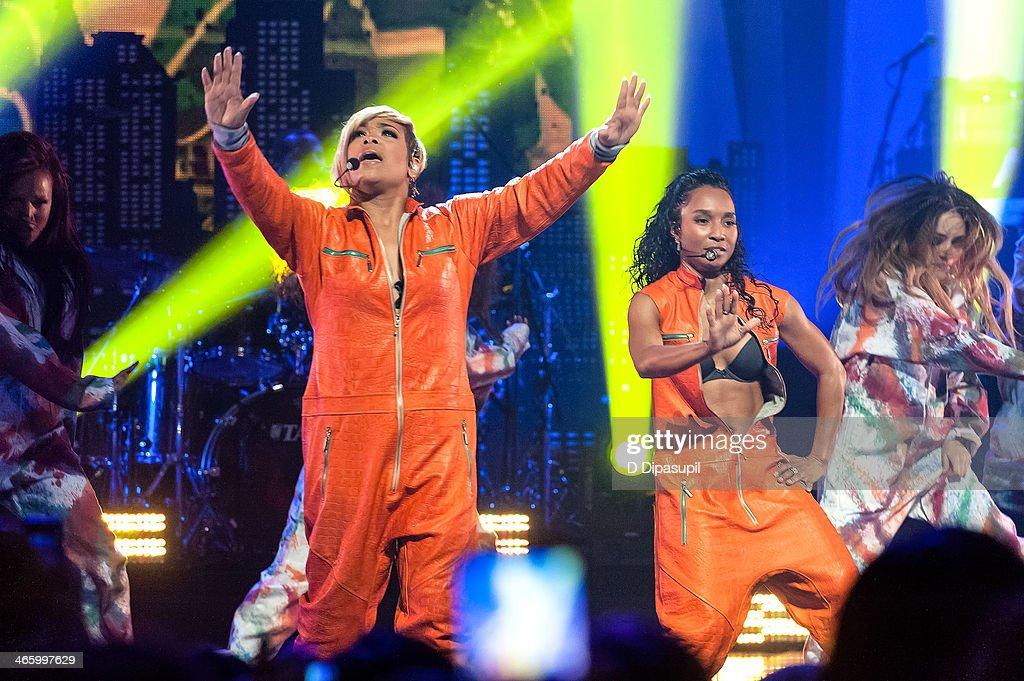 Tionne 'TBoz' Watkins and Rozonda 'Chilli' Thomas of TLC perform during VH1's 'Super Bowl Blitz Six Nights Six Concerts' at the Beacon Theatre on...