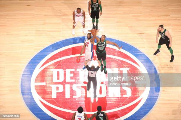 Tip off between Al Horford of the Boston Celtics and Andre Drummond of the Detroit Pistons on December 10 2017 at Little Caesars Arena in Detroit...