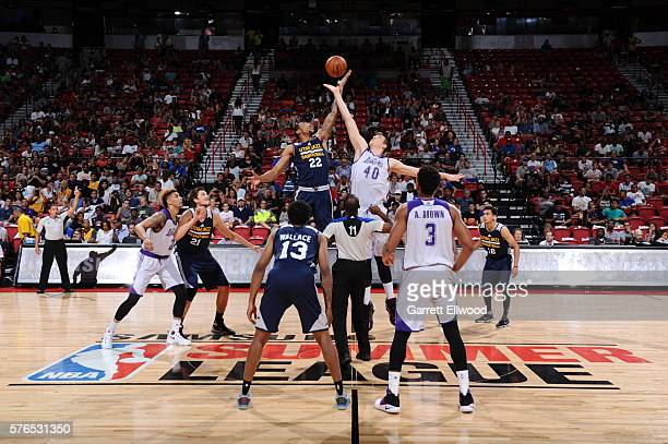Tip off between Joel Bolomboy of the Utah Jazz and Ivica Zubac of the Los Angeles Lakers during the 2016 NBA Las Vegas Summer League on July 15 2016...
