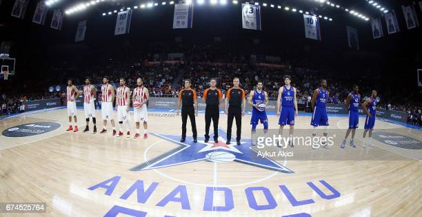 Tip off ceremony during the 2016/2017 Turkish Airlines EuroLeague Playoffs leg 4 game between Anadolu Efes Istanbul v Olympiacos Piraeus at Abdi...
