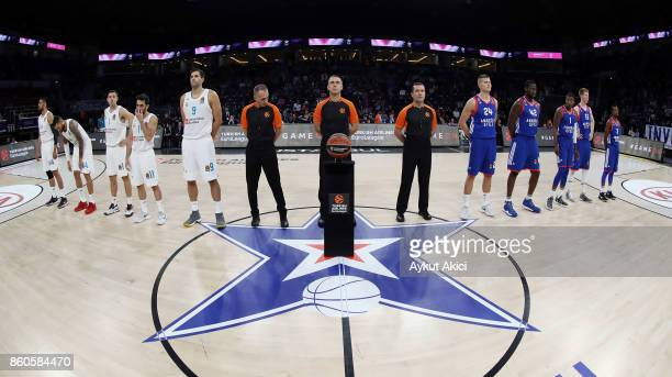 Tip off ceremony during the 2017/2018 Turkish Airlines EuroLeague Regular Season Round 1 game between Anadolu Efes Istanbul v Real Madrid at Sinan...