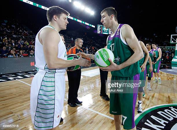 Tip off ceremony during the Turkish Airlines Euroleague Basketball Regular Season Round 8 game between Darussafaka Dogus Istanbul v Unicaja Malaga at...