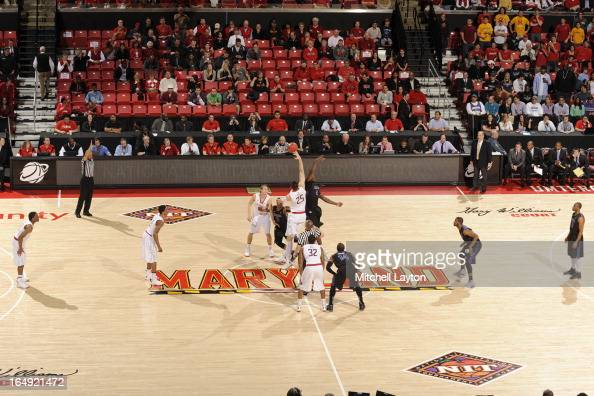 Tip off during the first round of the NIT Basketball Tournament game between the Niagara Purple Eagles and the Maryland Terrapins at the Comcast...