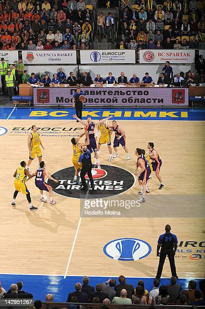 Tip Off of the 2012 Eurocup Basketball Final Game between BC Khimki Moscow Region v Valencia Basket at Basketball Center of Moscow Region on April 15...