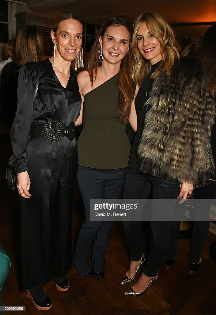 Tiphaine de Lussy, Kika Prette, Creative Director of APM Monaco, and <a gi-track='captionPersonalityLinkClicked' href=/galleries/search?phrase=Kim+Hersov&family=editorial&specificpeople=570326 ng-click='$event.stopPropagation()'>Kim Hersov</a> attend a private dinner celebrating the APM Monaco flagship store opening at 34 Grosvenor Square on February 11, 2016 in London, England.