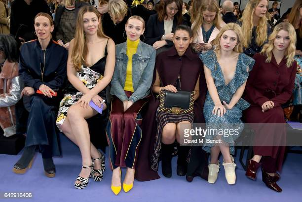 Tiphaine De Lussy Seraphine Chapman De Lussy Agathe de Lussy Chapman Cora Corre Anais Gallagher and Anya Taylor Joy attend the Mulberry Winter '17...