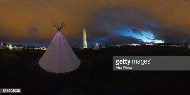 Tipis are erected on the ground of Washington Monument March 10 2017 in Washington DC The Standing Rock Sioux Tribe staged protests outside the Army...