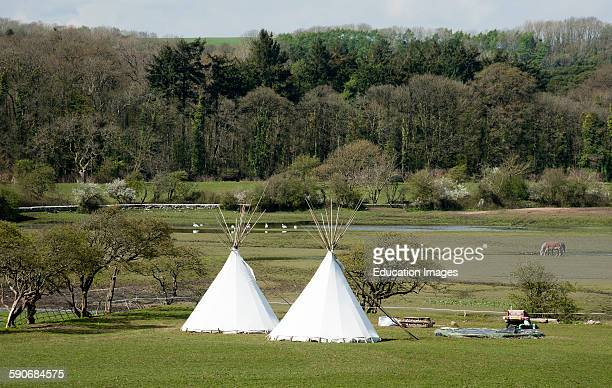 Tipis campsite at Ogmore in the Vale of Glamorgan South Wales UK