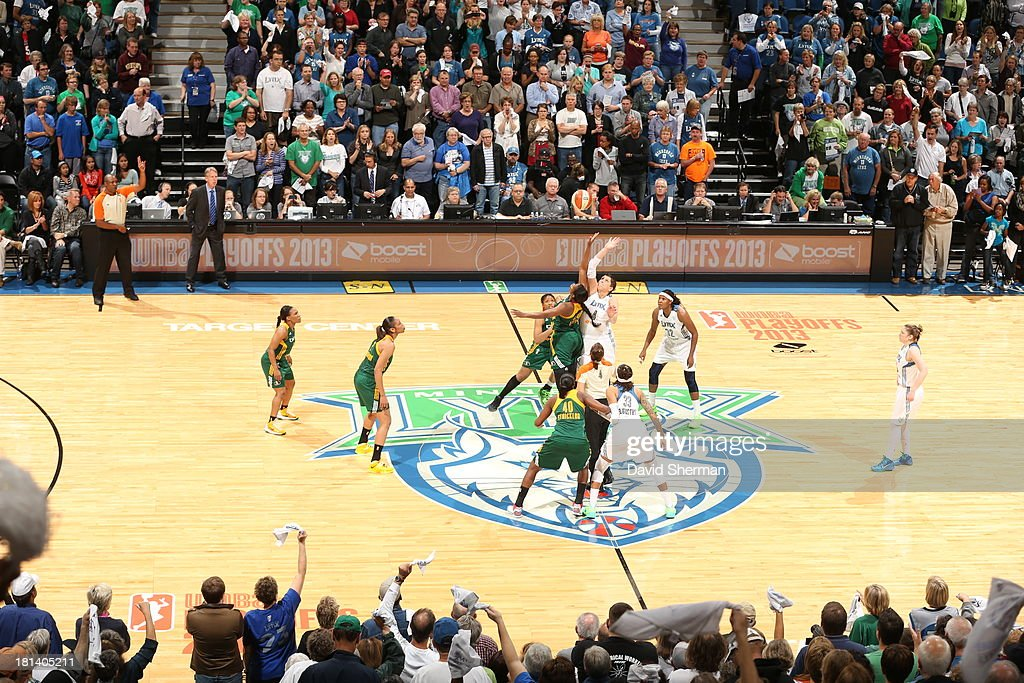 Tip-Off of the Minnesota Lynx against the Seattle Storm during the WNBA Western Conference Semifinals Game 1 on September 20, 2013 at Target Center in Minneapolis, Minnesota.