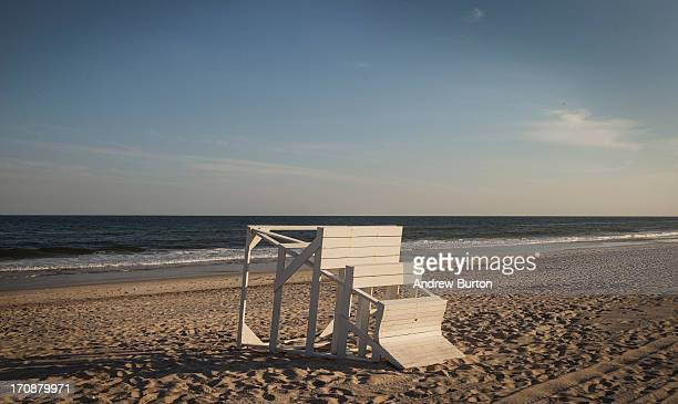 A tipped over lifeguard's chair is seen at Smith Point Beach near the TWA 800 International Memorial which is dedicated to the 230 people who died...
