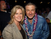 Tipper Gore and Actor Alec Baldwin backstage at Live Earth New York at Giants Stadium on July 7 2007 in East Rutherford New Jersey