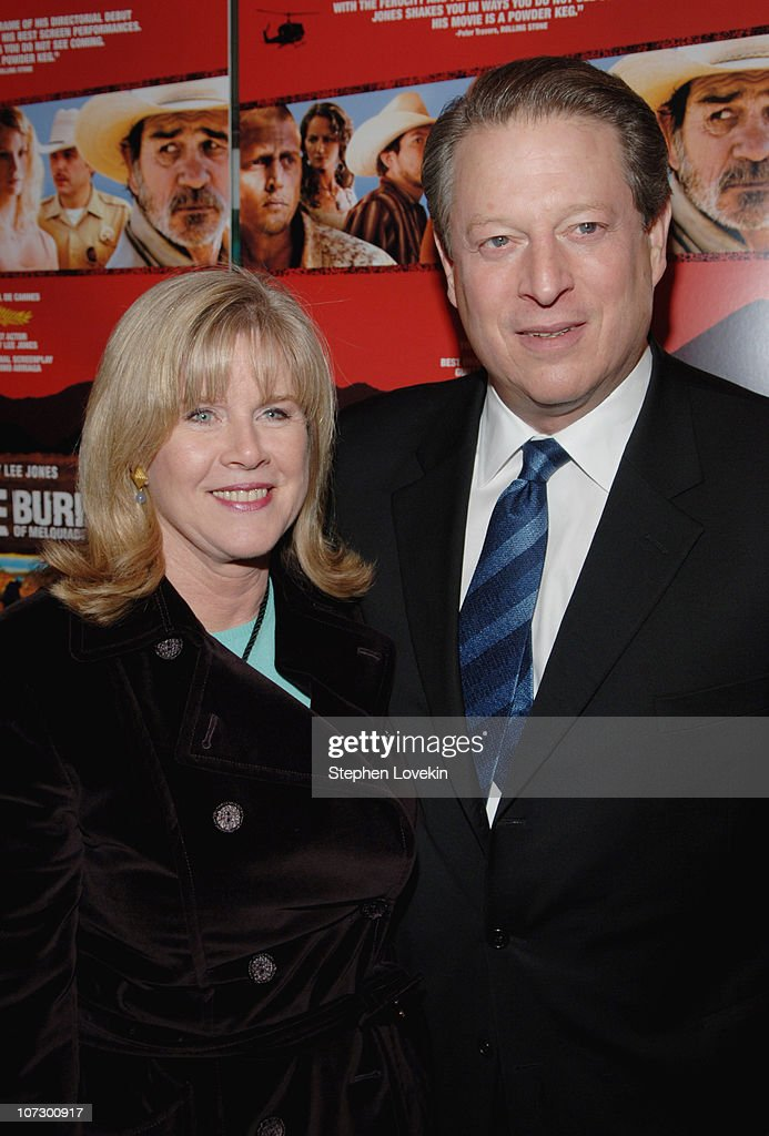 Tipper Gore and Al Gore during 'The Three Burials of Melquiades Estrada' New York City Premiere - Inside Arrivals at The Paris Theatre in New York City, New York, United States.