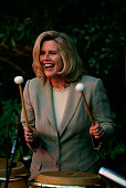 Tipper Gore plays a set of conga drums during a stop on Al Gore's presidential campaign Vice President Al Gore lost the 2000 Presidential Election to...