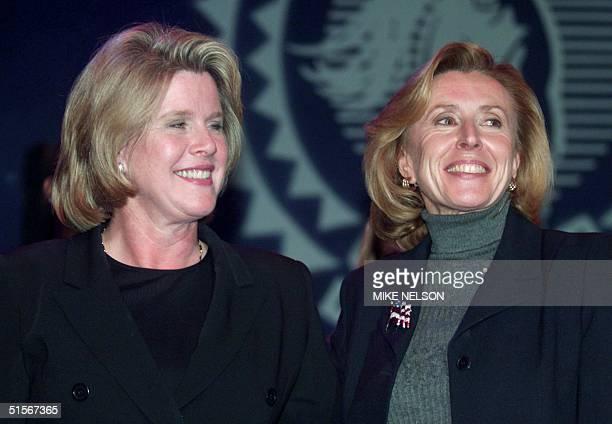 Tipper Gore wife of Democratic presidential candidate US Vice President Al Gore and Haddassah Lieberman wife of Gore's running mate Senator Joe...