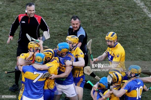 Tipperary and Clare fight during their match in the 2017 AIG Fenway Hurling Classic and Irish Festival at Fenway Park on November 19 2017 in Boston...