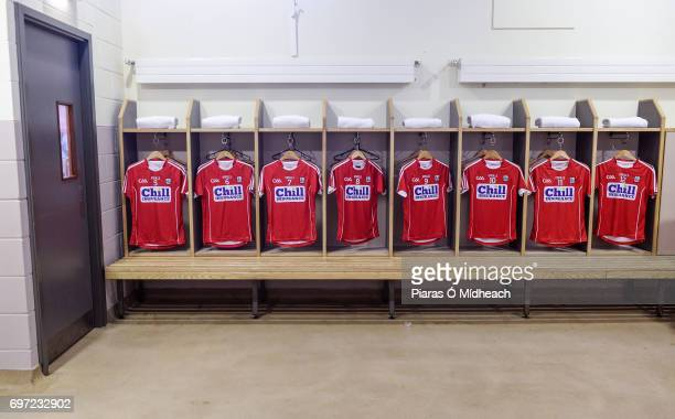 Tipperary Ireland 18 June 2017 A general view of Cork jerseys in the dressing room before the Munster GAA Hurling Senior Championship SemiFinal match...