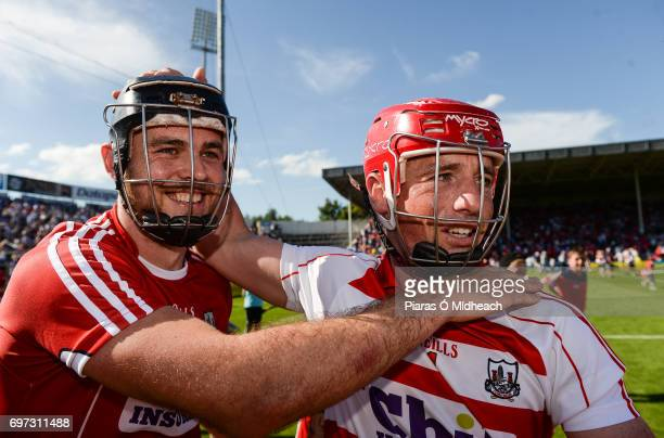 Tipperary Ireland 18 June 2017 Christopher Joyce left and Anthony Nash of Cork celebrate after the Munster GAA Hurling Senior Championship SemiFinal...