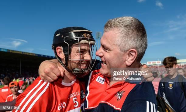 Tipperary Ireland 18 June 2017 Christopher Joyce of Cork celebrates with Cork selector Diarmuid O'Sullivan after the Munster GAA Hurling Senior...