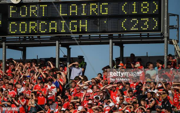 Tipperary Ireland 18 June 2017 Cork supporters watch the last minute of the Munster GAA Hurling Senior Championship SemiFinal match between Waterford...