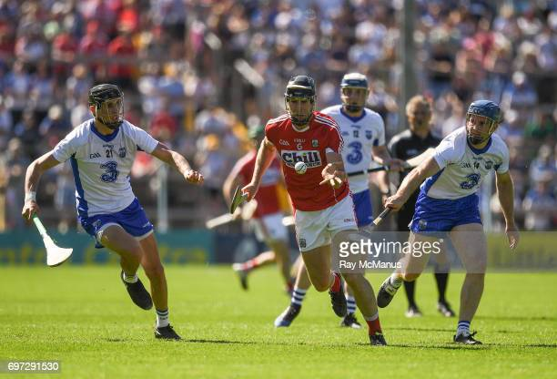 Tipperary Ireland 18 June 2017 Mark Ellis of Cork in action against Maurice Shanahan left and Michael Walsh of Waterford during the Munster GAA...