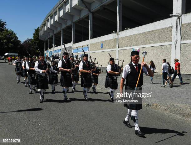 Tipperary Ireland 18 June 2017 Members of the Sean Treacy Pipe band make their way along Childers Park on their way to the Munster GAA Hurling Senior...