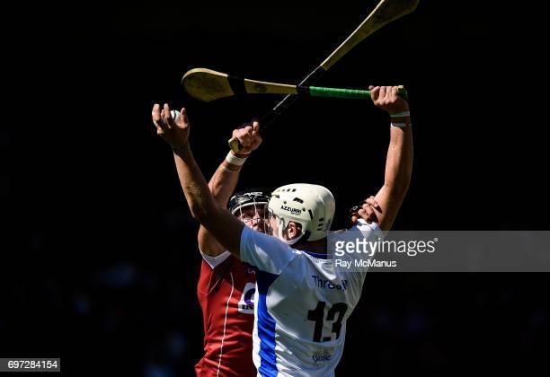 Tipperary Ireland 18 June 2017 Shane Bennett of Waterford catches the sliothar ahead of Colm Spillane of Cork during the Munster GAA Hurling Senior...