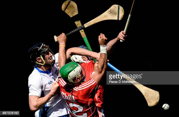 Tipperary Ireland 18 June 2017 Shane Kingston front and Patrick Horgan of Cork in action against Barry Coughlan of Waterford during the Munster GAA...