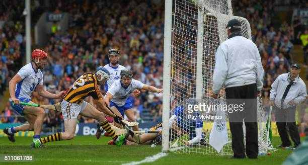 Tipperary Ireland 8 July 2017 T J Reid of Kilkenny scrambles the sliothar past Waterford goalkeeper Stephen O'Keeffe to score a goal during the GAA...