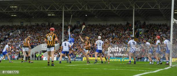 Tipperary Ireland 8 July 2017 Waterford goalkeeper Stephen O'Keeffe Waterford defenders and Kilkenny forwards watch as a late Kilkenny free heads...
